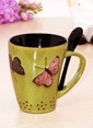 Mizzy Home Porselen Kelebekli Kaşıklı Kupa Bardak Renkli